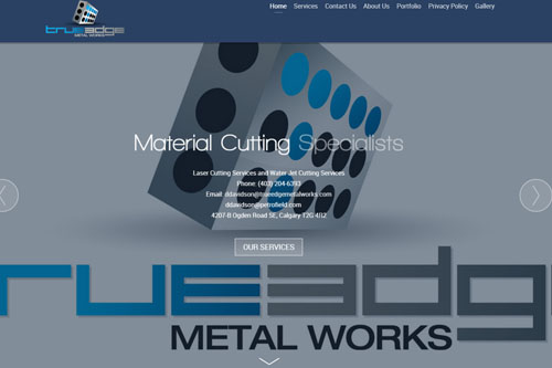 Image of True Edge Metal Works Website home page