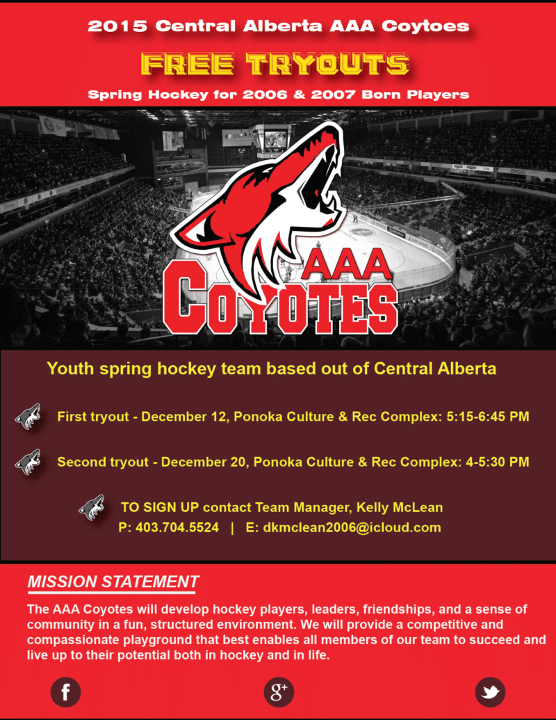 Coyotes Tryout Poster